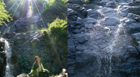 旭滝・静岡県【光に包まれる柱状節理のジオ滝】