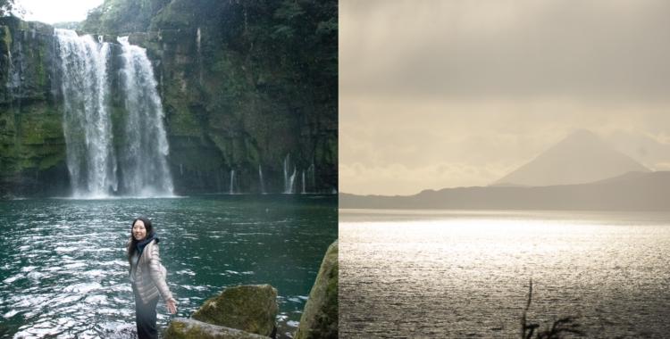 神川大滝公園・鹿児島県【錦江湾の夕暮れと偉大な桜島】