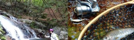 滝ガールの渓流釣りデビュー@日光小百川の無名滝